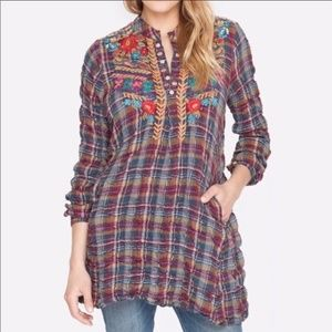 Johnny Was Floral Embroidered Check Plaid Tunic